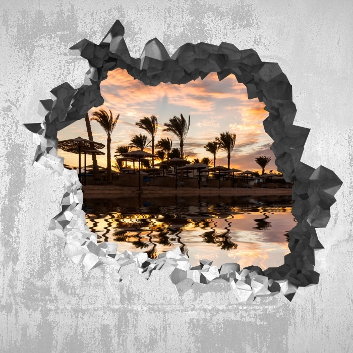 Hole in the wall - Sunset on the sandy beach and palm trees. Egypt. Vinyl Wall Mural - Holes in the wall