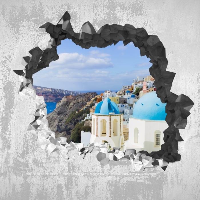 Fototapeta winylowa Dziura w ścianie - Krajobraz Santorini - Dziury w ścianie
