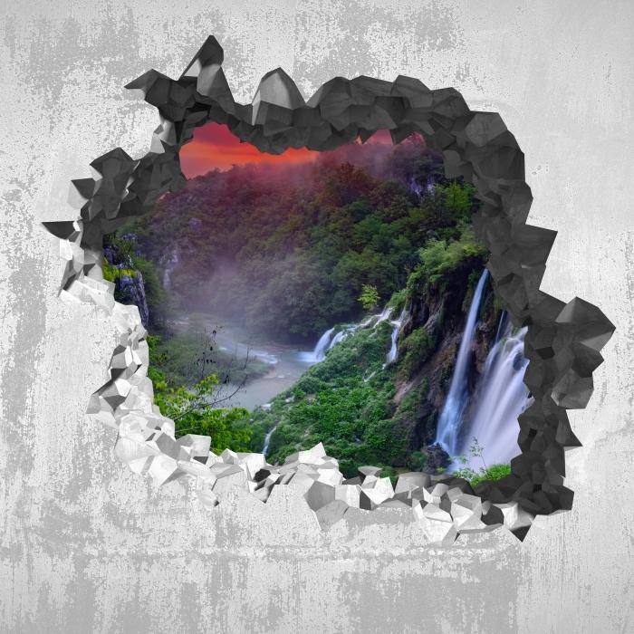 Fototapeta winylowa Dziura w ścianie - Wschód słońca. Chorwacja. - Dziury w ścianie