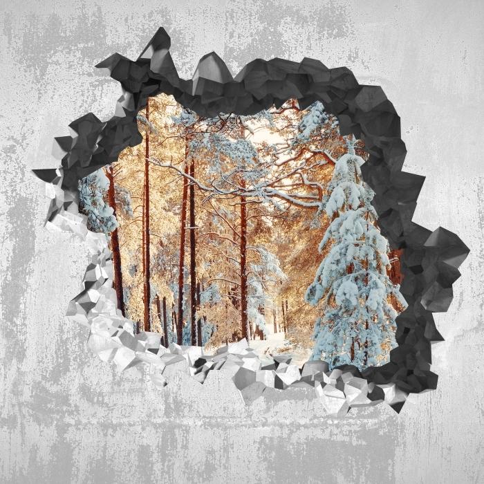 Pixerstick Aufkleber Loch in der Wand - Kiefern mit Schnee bedeckt - Durchbruch in der Wand