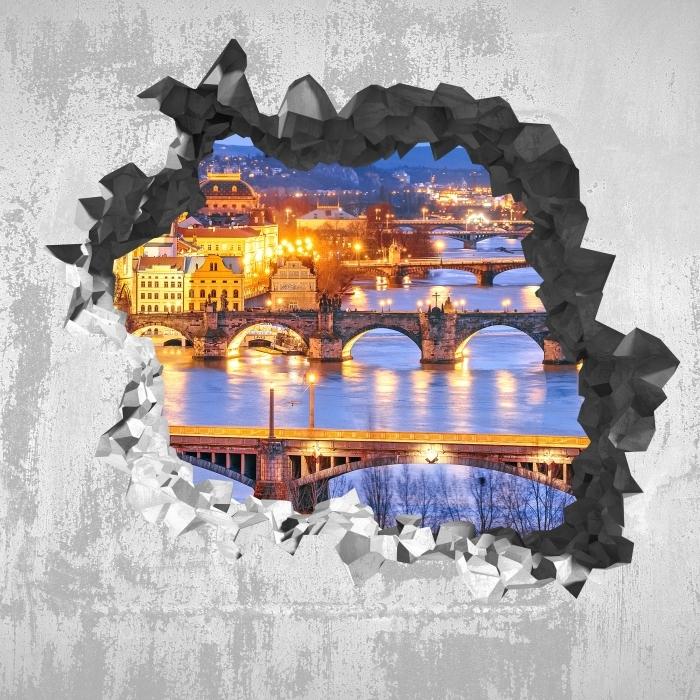 Fototapeta winylowa Dziura w ścianie - Praga - Dziury w ścianie