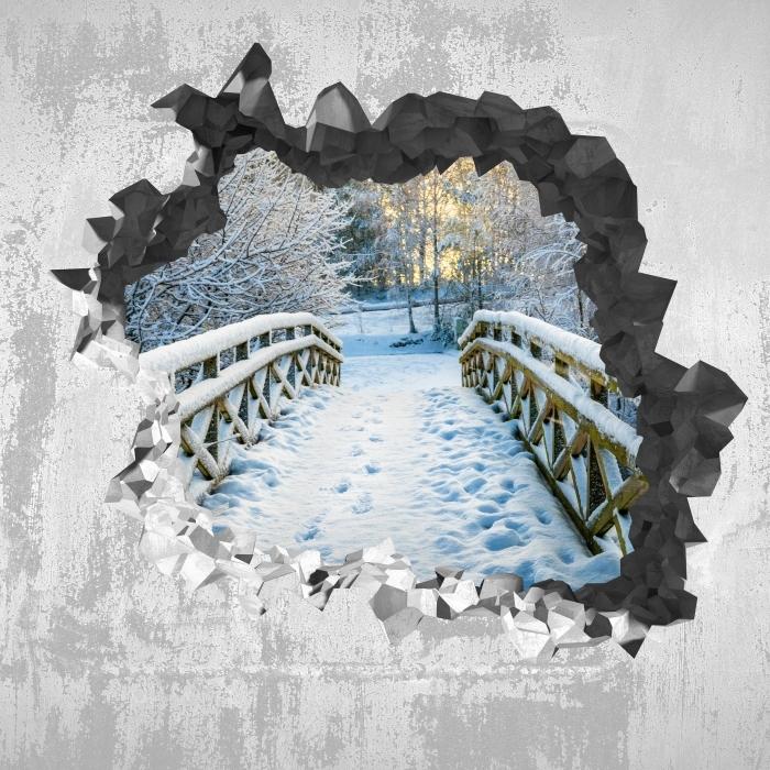 Papier peint vinyle Trou dans le mur - pont d'hiver - Les trous dans le mur
