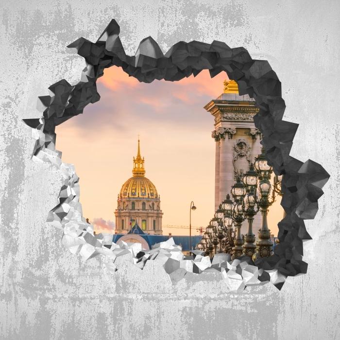 Papier peint vinyle Trou dans le mur - Pont Alexandre III. Paris - Les trous dans le mur
