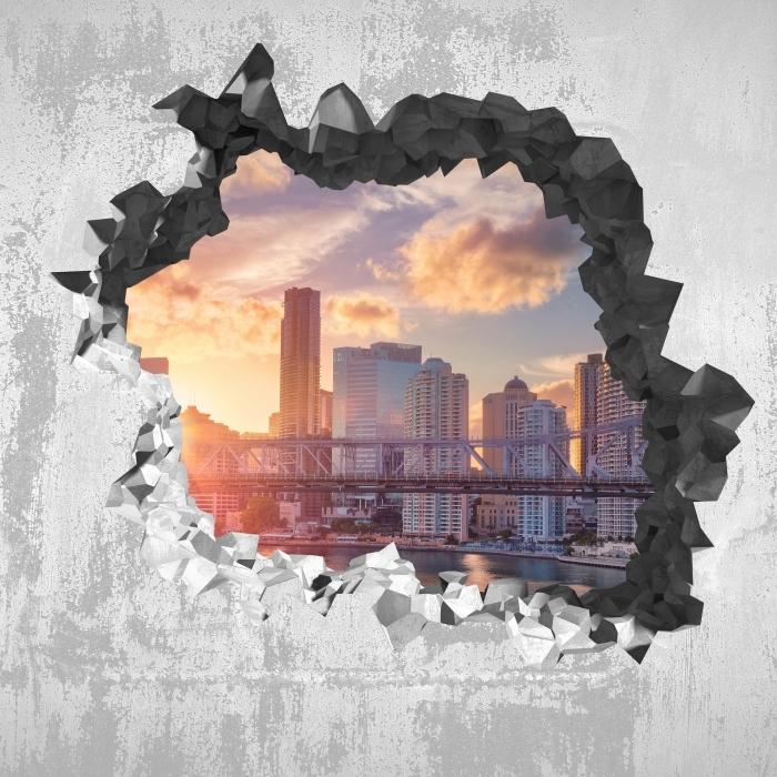 Fototapeta winylowa Dziura w ścianie - Brisbane. - Dziury w ścianie