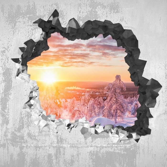 Fototapeta winylowa Dziura w ścianie - Skandynawia o zachodzie słońca - Dziury w ścianie
