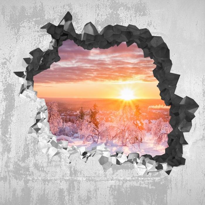 Vinyl-Fototapete Loch in der Wand - Skandinavien. Landschaft bei Sonnenuntergang - Durchbruch in der Wand