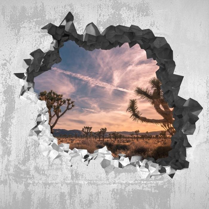 Fototapeta winylowa Dziura w ścianie - Zachód słońca. Pustynia. Kalifornia. - Dziury w ścianie