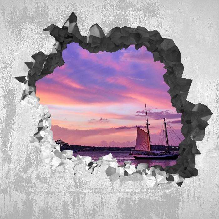 Papier peint vinyle Trou dans le mur - le coucher du soleil incroyable au port de Boston - Les trous dans le mur