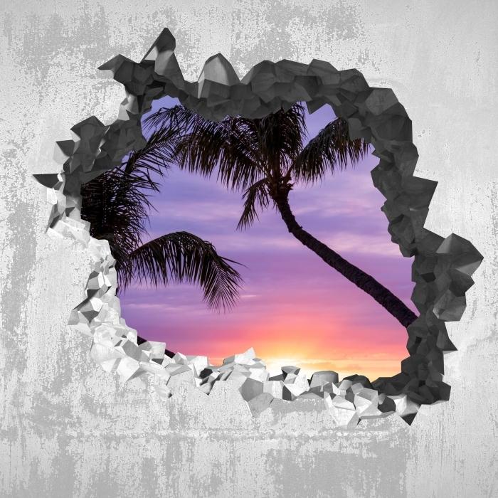 Fototapeta winylowa Dziura w ścianie - Palmy - Dziury w ścianie