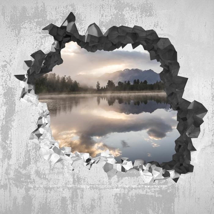 Fototapeta winylowa Dziura w ścianie - Jezioro. Nowa Zelandia. - Dziury w ścianie