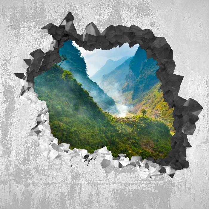 Vinyl Fotobehang Gat in de muur - Ha Giang. Vietnam. - Gaten in de muur