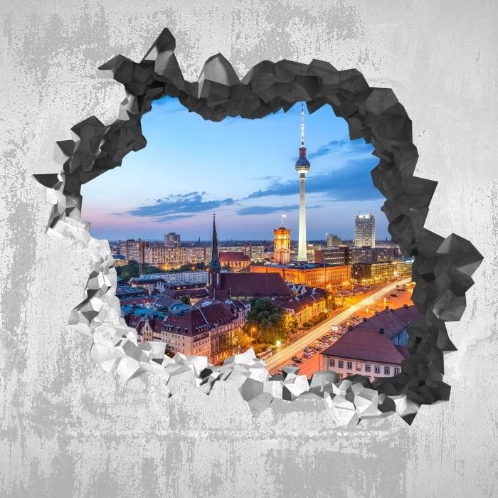 Fototapeta winylowa Dziura w ścianie - Widok na Berlin - Dziury w ścianie