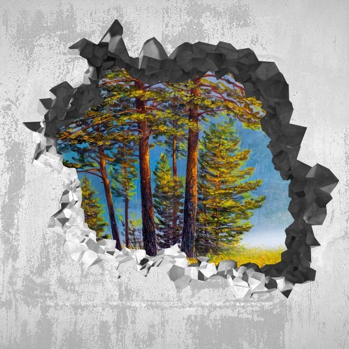 Fototapeta winylowa Dziura w ścianie - Letni las - Dziury w ścianie