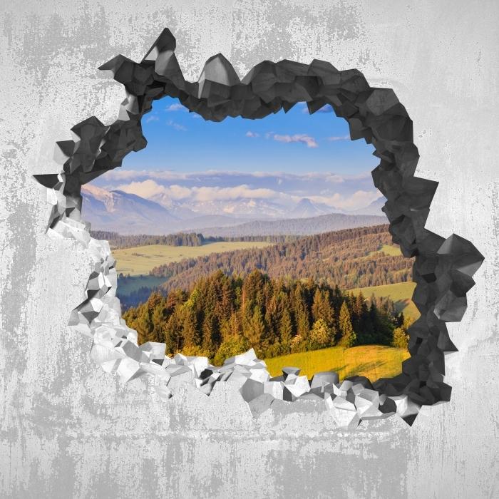 Vinyl-Fototapete Loch in der Wand - Pieniny. Polen. - Durchbruch in der Wand