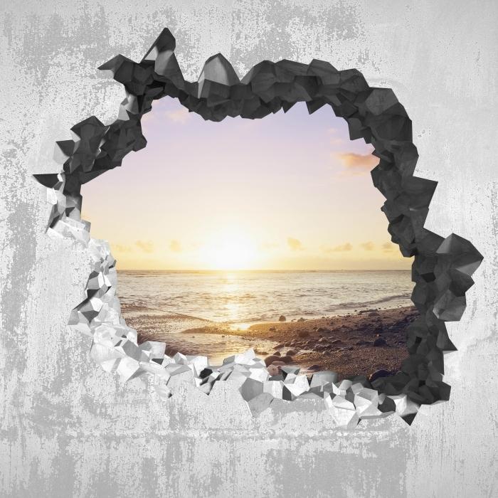 Vinyl-Fototapete Loch in der Wand - Sonnenuntergang am Strand - Durchbruch in der Wand