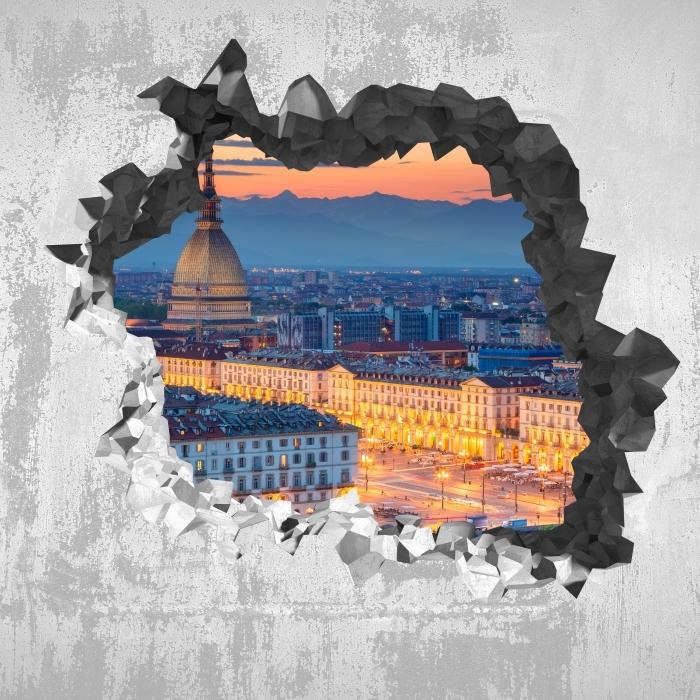 Vinyl-Fototapete Loch in der Wand - Turin. Sonnenuntergang. - Durchbruch in der Wand