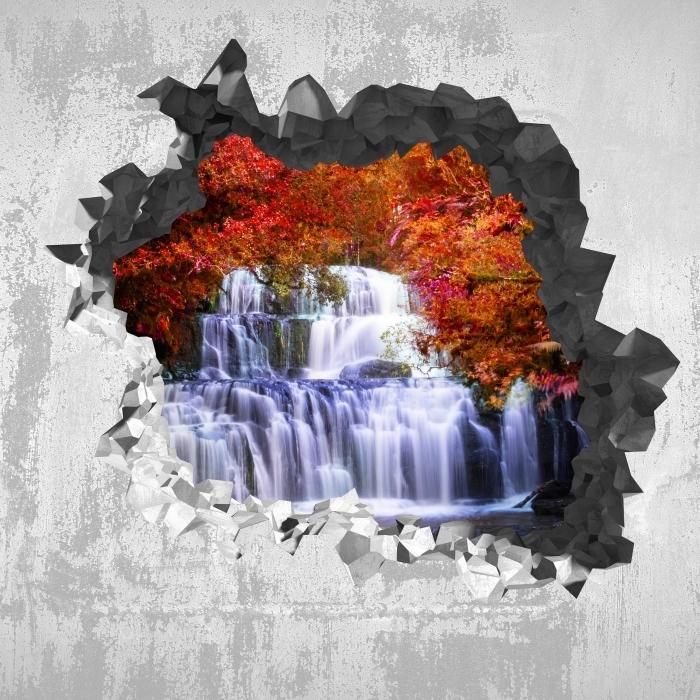 Papier peint vinyle Trou dans le mur - Cascade dans la jungle. nouvelle-Zélande - Les trous dans le mur