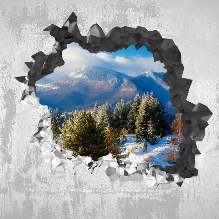 Carta da Parati in Vinile Buco nel muro - Paesaggio innevato - Buchi nel muro