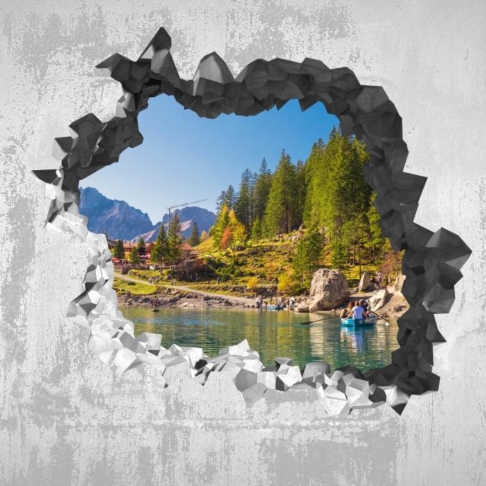 Fototapeta winylowa Dziura w ścianie - Błękitne jezioro. Szwajcaria. - Dziury w ścianie