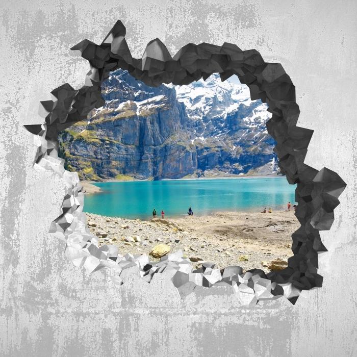Carta da Parati in Vinile Buco nel muro - Lago. Svizzera - Buchi nel muro