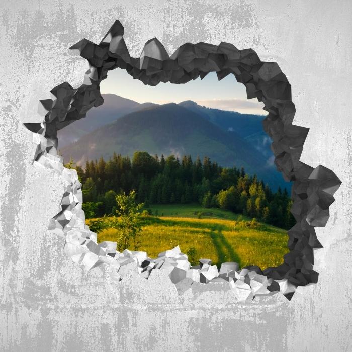 Papier peint vinyle Trou dans le mur - vallée de montagne - Les trous dans le mur