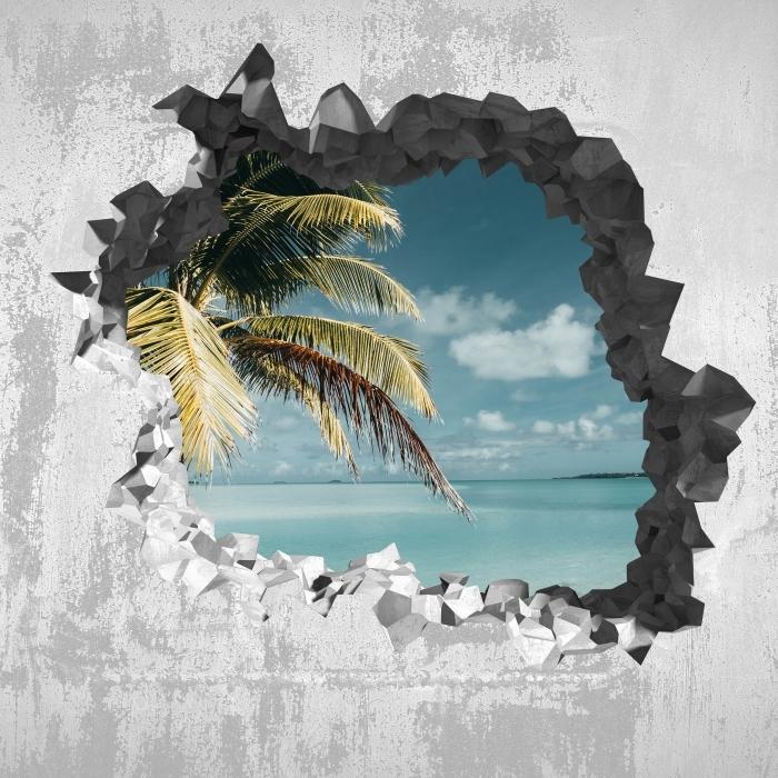 Vinyl-Fototapete Loch in der Wand - kochen Baum Palm Island - Durchbruch in der Wand