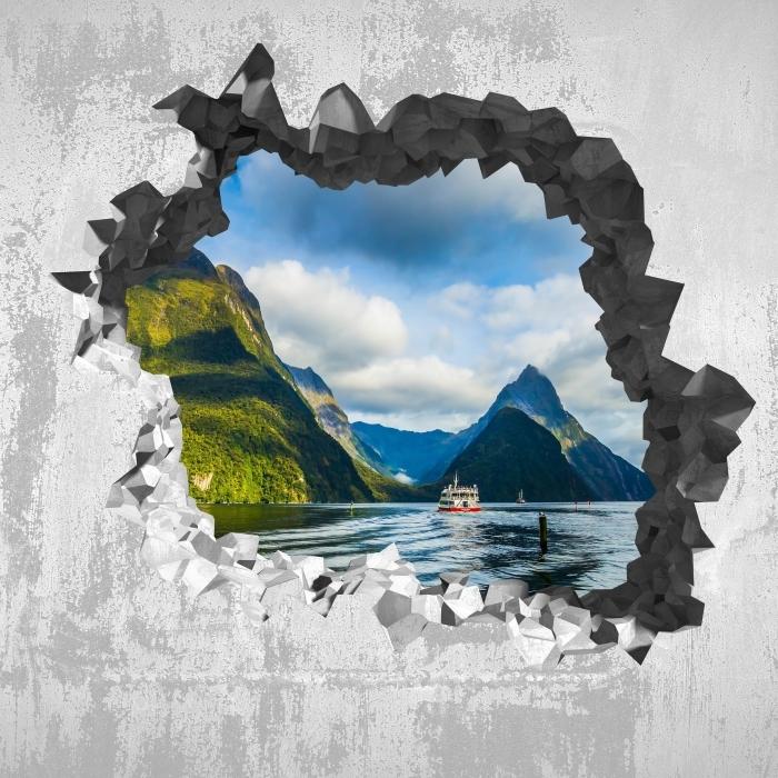 Vinyl-Fototapete Loch in der Wand - und die Westküste - Durchbruch in der Wand
