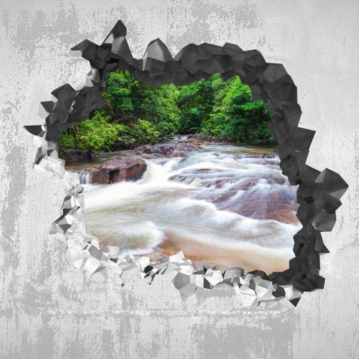 Sticker Pixerstick Trou dans le mur - Cascade dans la forêt - Les trous dans le mur