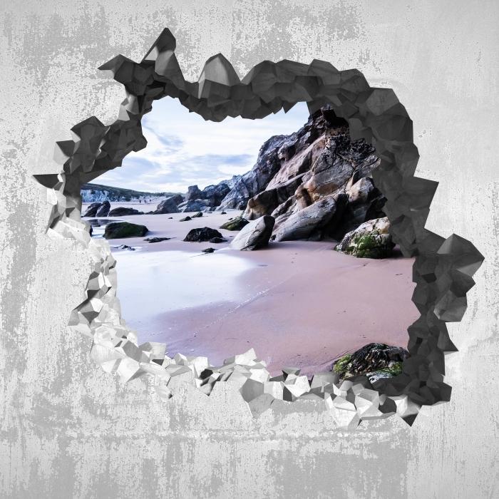 Fototapeta winylowa Dziura w ścianie - Wybrzeże we Francji. - Dziury w ścianie