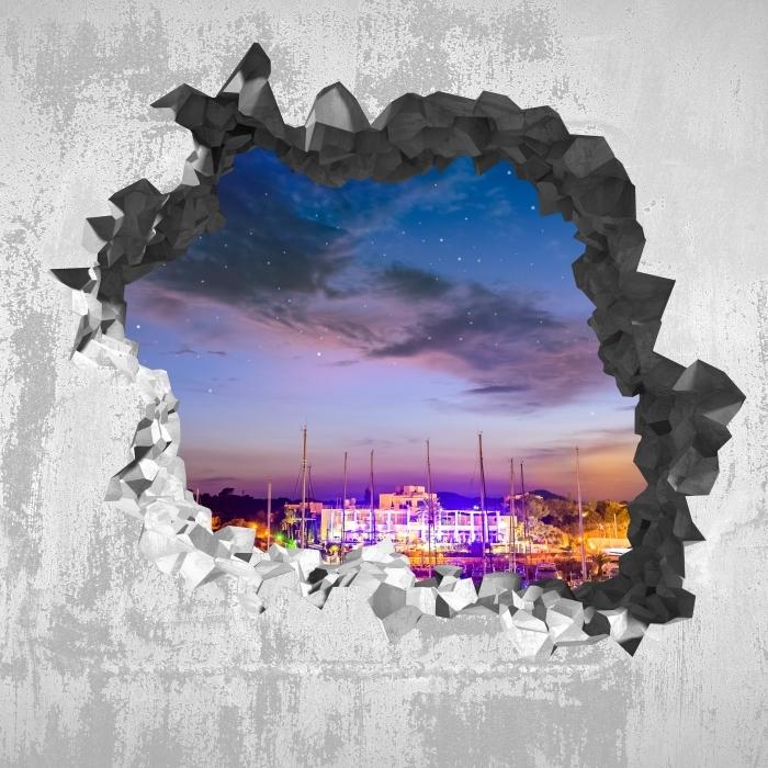 Vinyl-Fototapete Loch in der Wand - Mallorca. - Durchbruch in der Wand