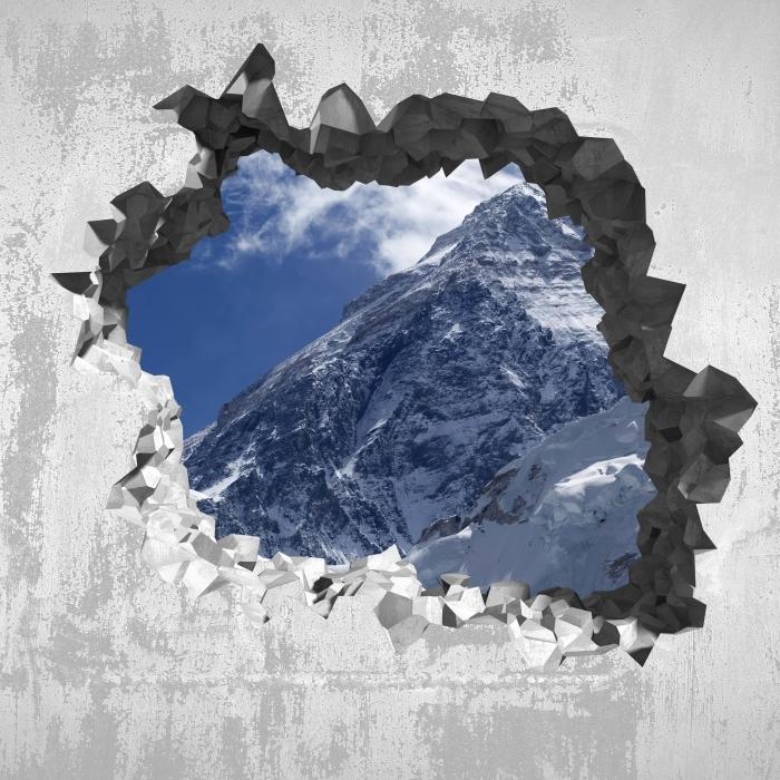Papier peint vinyle Trou dans le mur - le mont Everest - Les trous dans le mur