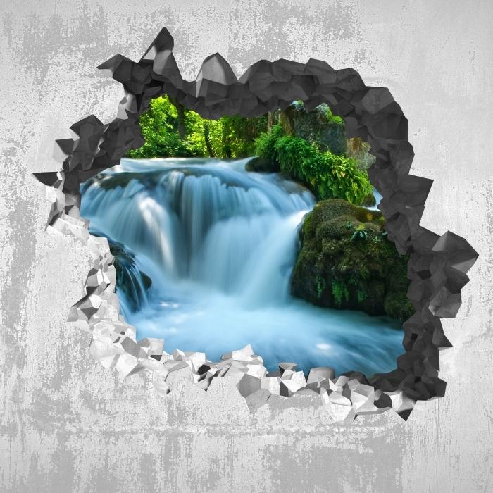 Fototapeta winylowa Dziura w ścianie - Wodospad - Dziury w ścianie