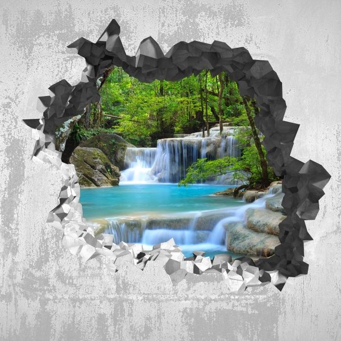 Fototapeta winylowa Dziura w ścianie - Wodospad Erawan. Tajlandia - Dziury w ścianie