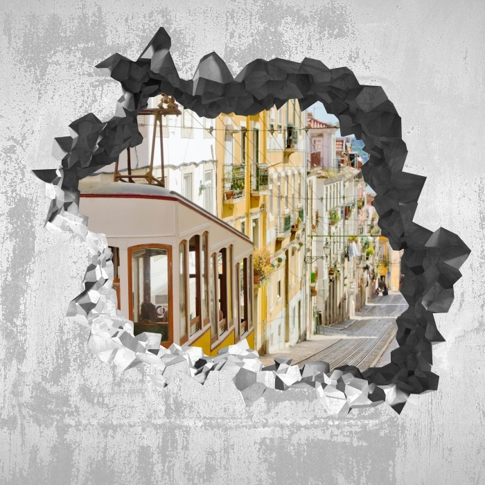 Fototapeta winylowa Dziura w ścianie - Lizbona. - Dziury w ścianie