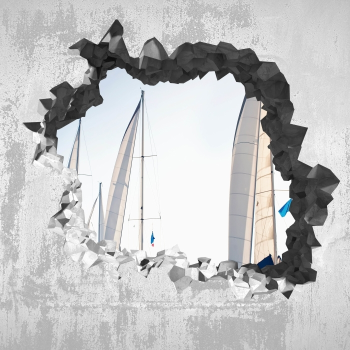 Hole in the wall - yachts with white sails Vinyl Wall Mural - Holes in the wall
