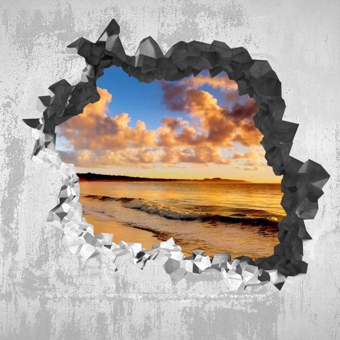 Papier peint vinyle Trou dans le mur - Coucher de soleil sur la plage - Les trous dans le mur