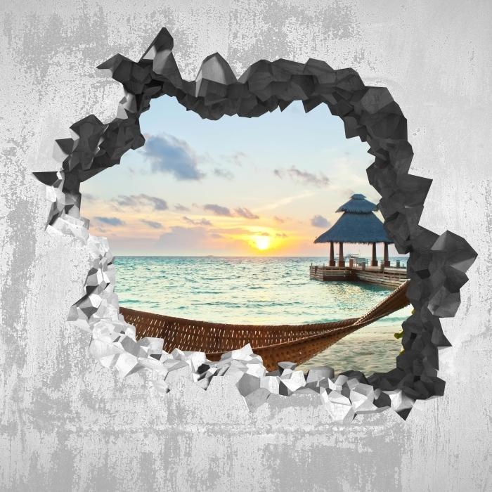 Sticker Vitre Trou Dans Le Mur Hamac Et Le Soleil Pixers Nous