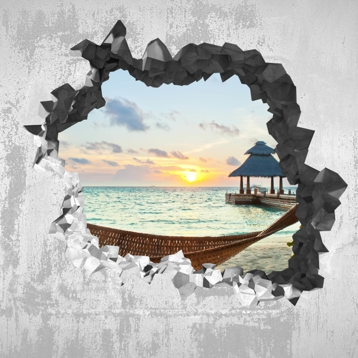 Reikä seinään - riippumatossa ja aurinko Vinyyli valokuvatapetti - Reikää seinään