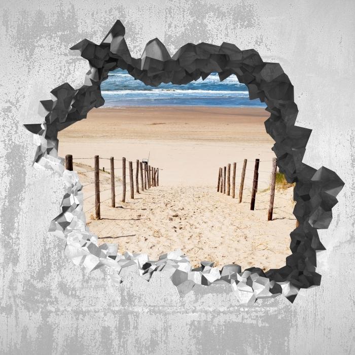 Papier peint vinyle Trou dans le mur - La route de la plage - Les trous dans le mur