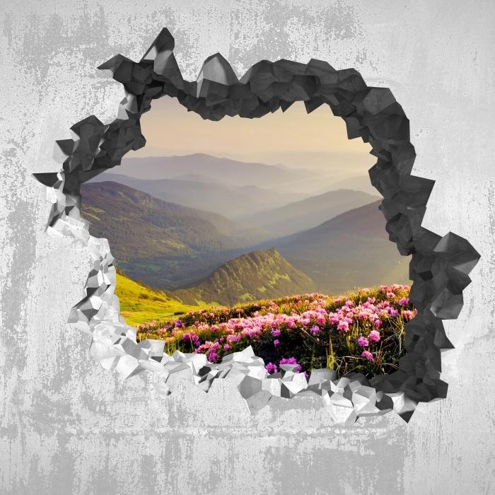 Fototapeta winylowa Dziura w ścianie - Górski krajobraz - Dziury w ścianie