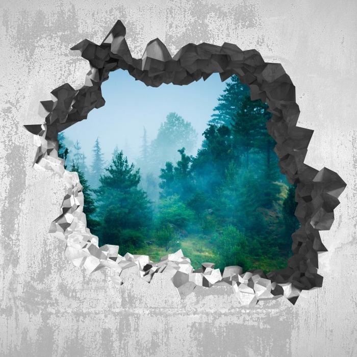 Fototapeta winylowa Dziura w ścianie - Mgła - Dziury w ścianie