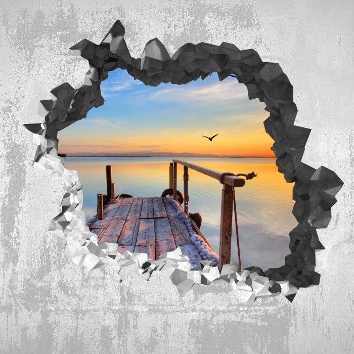 Fototapeta winylowa Dziura w ścianie - Jezioro - Dziury w ścianie