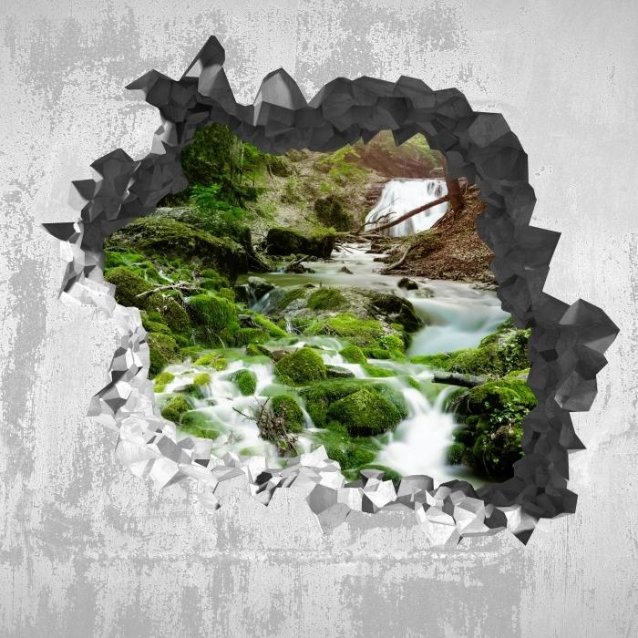 Vinyl Fotobehang Gat in de muur - Forest en waterval - Gaten in de muur