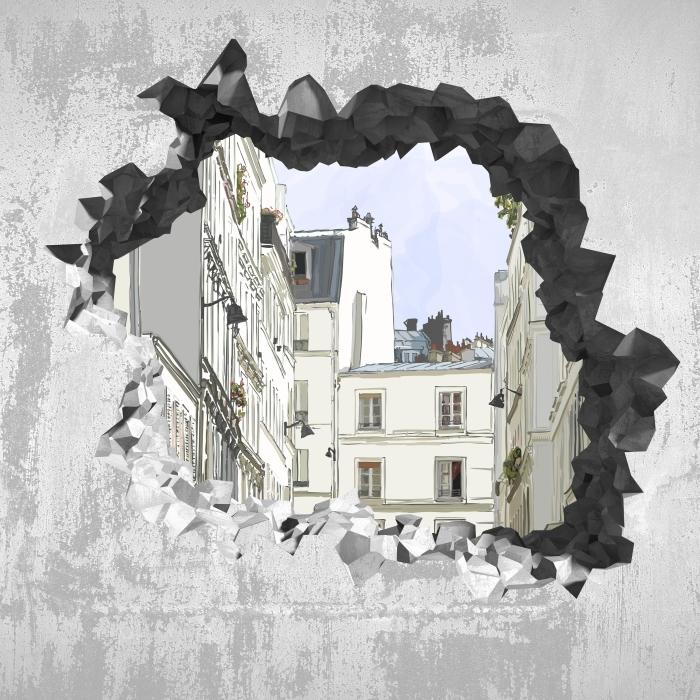 Fototapeta winylowa Dziura w ścianie - Paryż - Dziury w ścianie