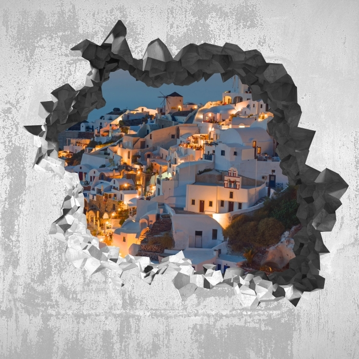 Hole in the wall - Beautiful sunset in Oia Vinyl Wall Mural - Holes in the wall