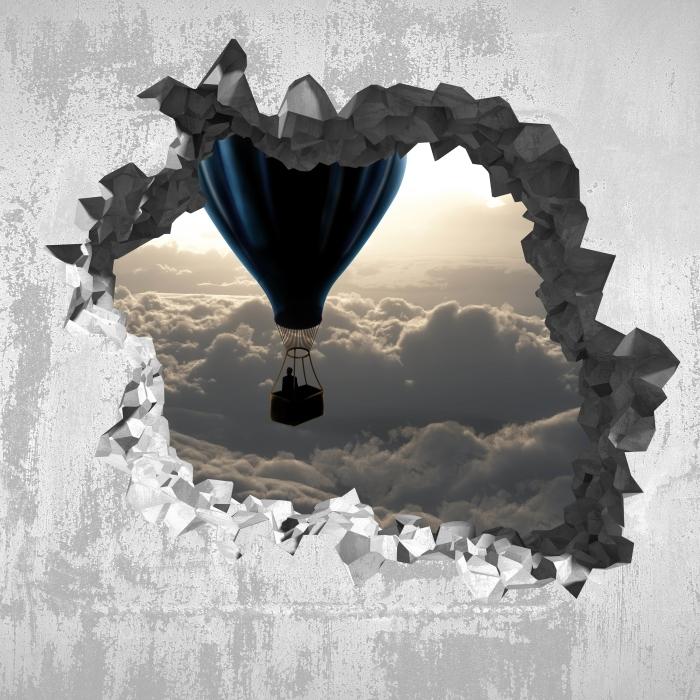 Fototapeta winylowa Dziura w ścianie - Balon na niebie - Dziury w ścianie