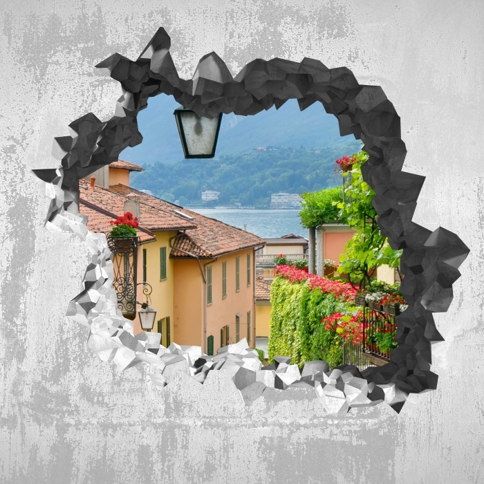 Papier peint vinyle Trou dans le mur - une ville pittoresque en Italie - Les trous dans le mur