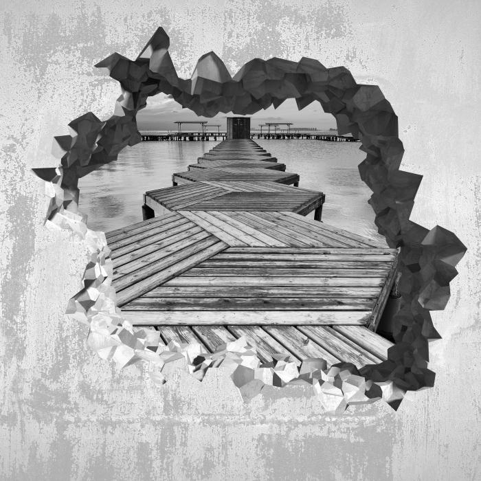 Fototapeta winylowa Dziura w ścianie - Przystań - Dziury w ścianie