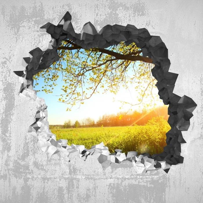 Fototapeta winylowa Dziura w ścianie - Drzewo - Dziury w ścianie