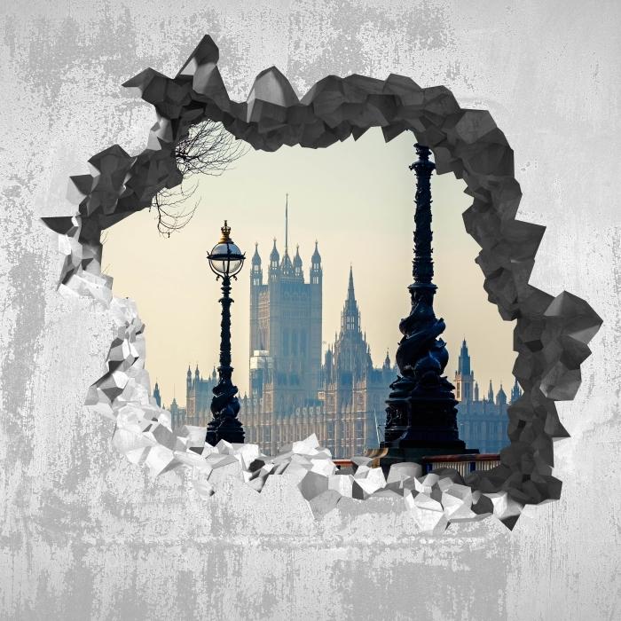 Fototapeta winylowa Dziura w ścianie - Big Ben. Londyn. - Dziury w ścianie
